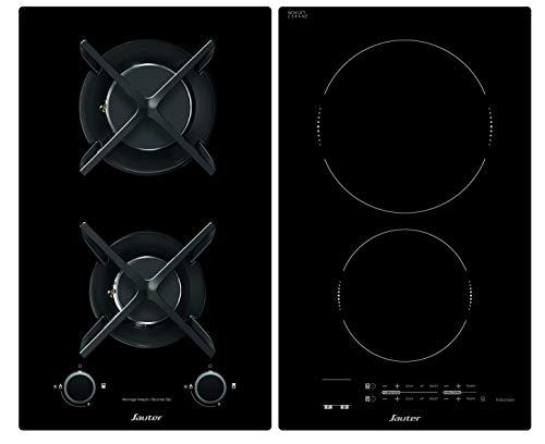 Sauter SPI4465MB - Plaque de Cuisson Mixte - Induction et Gaz - Encastrable - 3600W - Revêtement verre - Noir - Fabrication Française
