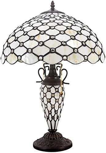 Estilo de arte retro clásico con luz nocturna Lámpara de mesa de cuentas de pera de cristal de vitrales grandes rústicos 24 altos Habitación de base vintage Mesita de noche