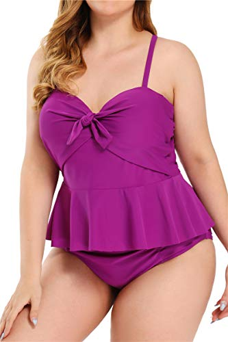 Women's Plus Size Tankini Set Ruffle Underwire Swimsuit Tummy Control Swimwear (B01,Purple,4XL)