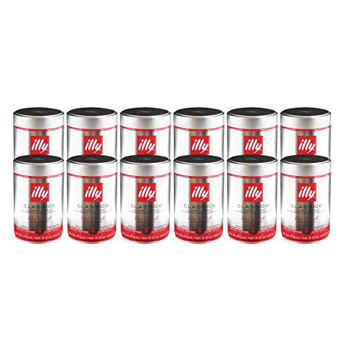Illy Moka, 100 % Arabica Kaffee, Gemahlener Röstkaffee, Espresso, Normale Röstung, Dose, 12 x 250 g