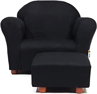 Keet Roundy Childrens Chair Microsuede with Ottoman, Black
