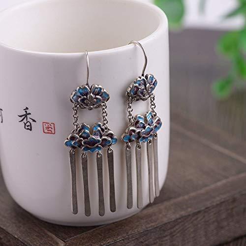 ESCYQ Women Earrings,925 Sterling Silver Peony Long Tassel Pendant Design for Women Earrings Fashion Temperament Accessories Friends Dance Party Dinner Gifts