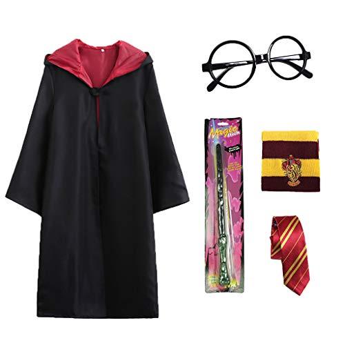 Xinqin Wizard Mago Costume con Mantello da Mago, Sciarpa, Bacchetta, Cornice per Occhiali, Uniforme Scolastica Magica, Costume Cosplay da Mago per Bambini e Adulti