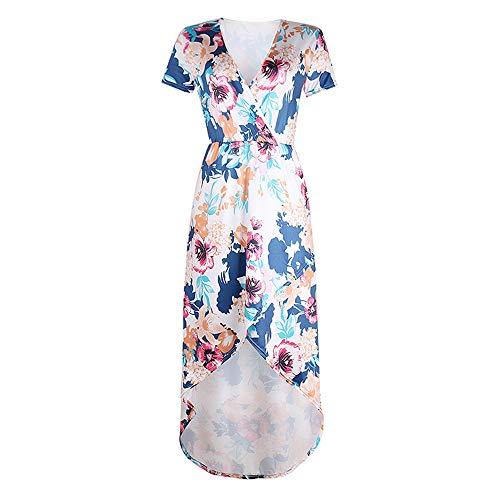 Primavera y verano nuevo vestido largo de las mujeres casual de la moda impresión de manga corta vestido largo