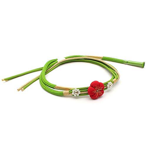 [キステ] 帯締め 振袖 成人式 梅 正絹 帯〆 日本製 フォーマル レディース (緑)