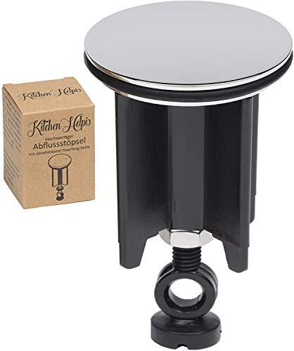 Kitchen Helpis® Qualitäts Waschbeckenstöpsel, Schwarz 1 STK, ⌀ 40 mm, höhenverstellbar zwischen 6,5 cm – 10 cm, Stöpsel Waschbecken, Abflussstopfen, Abfluss Stöpsel für alle gängigen Waschbecken