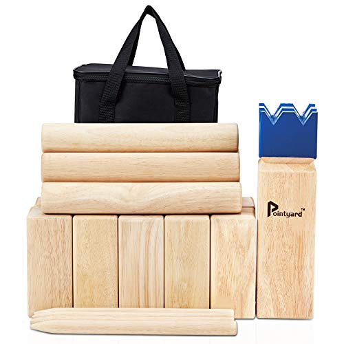 Pointyard Kubb Yard Game Set, Giant 3.5'' Kubb Toss Yard Game with Carrying Case - Rubber Wooden Outdoor Lawn Games Set for Children Adults Family