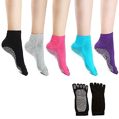 Laviesimple Toe Yoga Pilates Socks Non Slip Skid Barre Sock with Grips for Women & Men