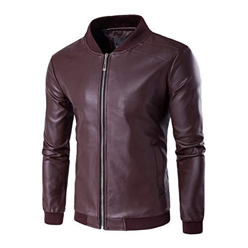 WYX Männer Herbst New Motorrad-Verursachende Vintage-Lederjacke Mantel-Mann-Outfit Fashion Biker Zipper-Taschen-Entwurf PU-Lederjacke,d,4XL