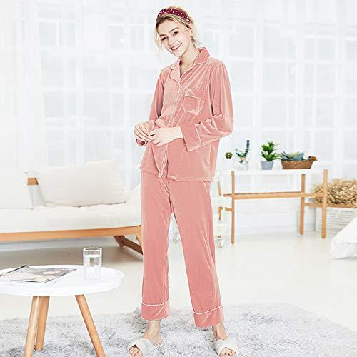 YRTHOR La Ropa de Dormir de Las Mujeres del Invierno, Pijama Fija la Ropa de Dormir Atractiva se Adapta al camisón de Seda del tamaño Extra Grande,Rosado,XXXL