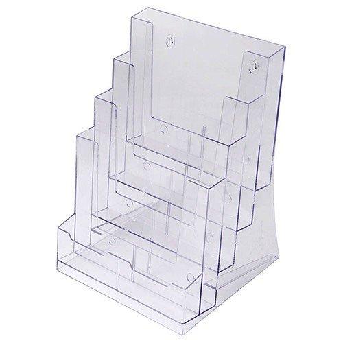 Prospekthalter DIN A4 vierstufig, Aufsteller Prospektständer Flyerhalter Acryl glasklar Prospekthalter A4