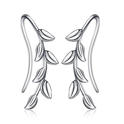 Sterling Silber Ear Cuff Ohrclips ohrklemme Blatt Ohrringe Hypoallergen für frauen mädchen (Blatt Ohrringe)