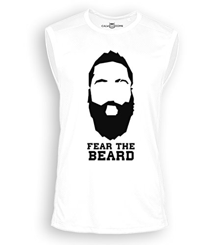 Fear The Beard Sleeveless Trikot Shirt 2017 New James Harden Jersey Houston Rockets NBA Basketball (L, Weiß)