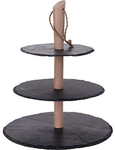 Holz-Etagere Servierplatte Tapas-Set   Holz mit Schieferplatten   3-stöckig