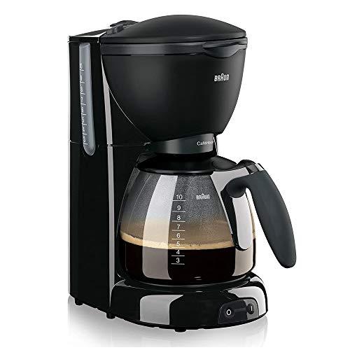Braun KF 560 Cafetera eléctrica con Sistema OptiBrew, 1100 W, 35 dB, acero inoxidable, 10 tazas, negro