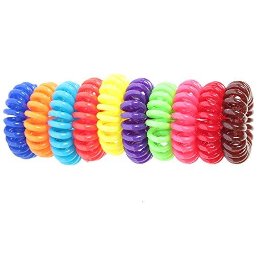 JUSTFOX - 10 x pour cheveux en forme de spirale en plastique-câble téléphonique zopfband élastique