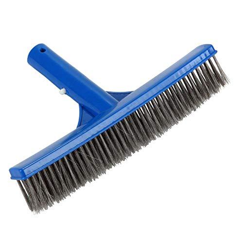 laoonl Aspirador de piscina, cepillo de limpieza de acero inoxidable, piso de pared de piscina, herramienta de bañera estanque limpiador de cepillo de 10 pulgadas