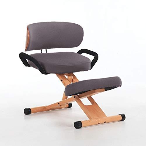Sedia ergonomica, casa Ginocchio Postura Sedia, ergonomico di lavoro Sgabello, con schienale e maniglia, del collo, della colonna vertebrale, problemi alla schiena, regolabile, Legno & tela dell'ammor