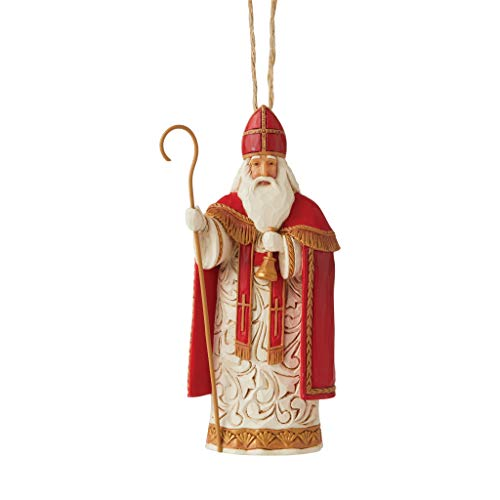 Enesco Jim Shore Heartwood Creek Christmas Around The World Belgian Santa Hanging Ornament, Multicolor