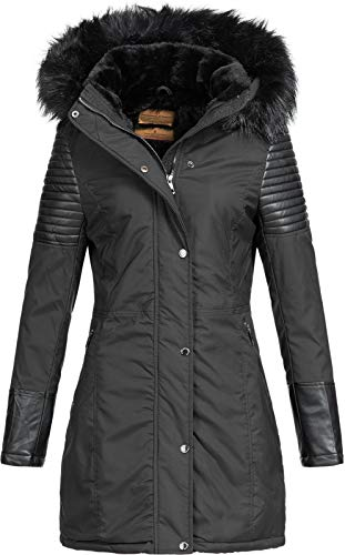 Anonymous & Famous Damen Winterparka AF-1651B/1806B Biker-Look Black M