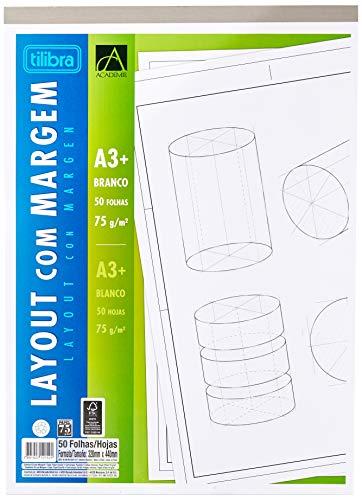 Caderno Colado Layout A3 Branco com Margem Académie 50 Folhas, Tilibra, 121525 - 1 un