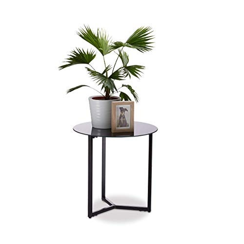 Relaxdays Schwarz Runder Beistelltisch aus Glas und Metall, dekorativer Loungetisch, HxBxT: 51 x 50 x 50 cm, in edlem, Standard