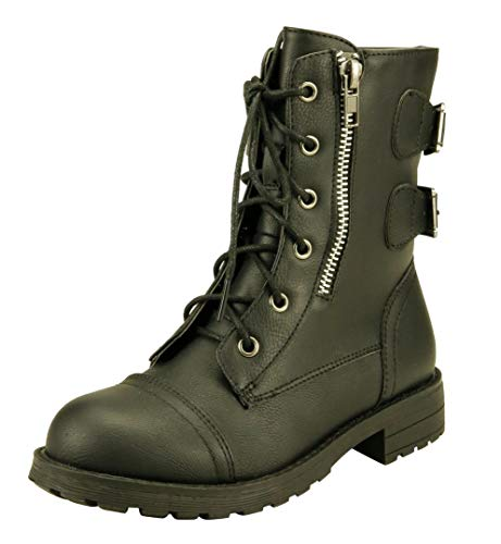 The Doll Maker Girl's Lace-Up Zipper Combat Boots - TD194020-13