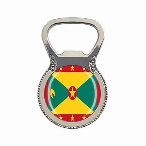 Flaschenöffner mit Grenada-Flagge, Kühlschrankmagnet, Metallglas, Kristall, Reise-Souvenir, Geschenk, Heimdekoration