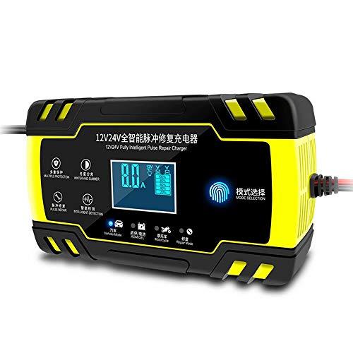 CUIJU Cargador de batería de Coche 12V 24V con Pantalla LCD batería de Motocicleta AGM Lntelligent Mantiene el Cargador (Amarillo)