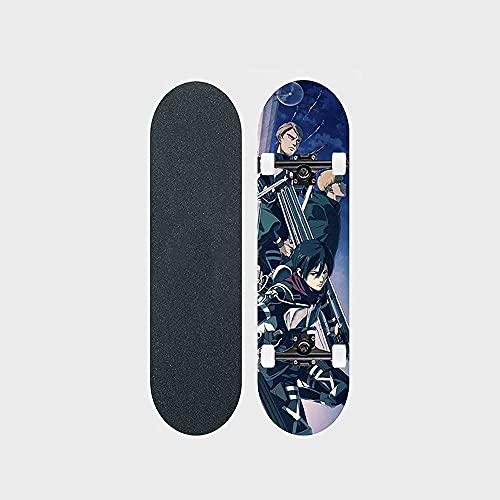 "Attack On Titan Series Anime Skateboard People In The Night Patrón De Transferencia De Calor Tabla De Skate De Arce De 7 Capas Tabla De 31 ""Long Board Double Rocker Bearing 100KG Adecuado Para Princip"