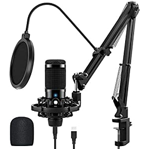 USB Microphone Kit for Computer, Jeemak Professional Condenser Microphone Set with Adjustable Mic Arm Stand for Gaming Studio Podcast Recording YouTube Video Steaming