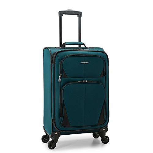 U.S. Traveler Aviron Bay Expandable Softside Luggage with Spinner Wheels, Teal, Carry-on 23-Inch