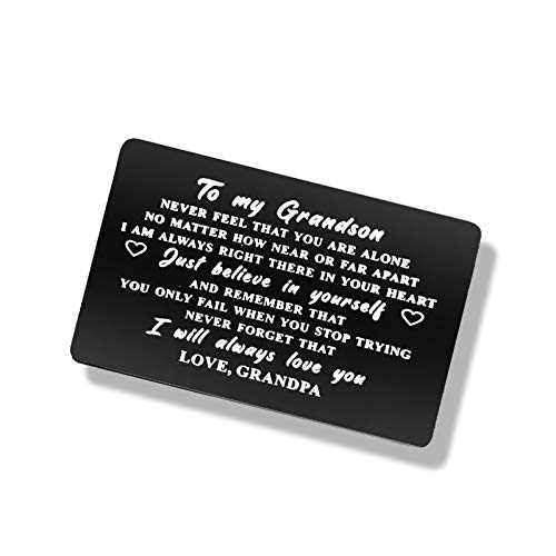 Grandson Wallet Card Insert from Grandpa, Personalized Grandson Gift Just Believe in Yourself Inspirational Gift for Grandson, Birthday Graduation Wedding Gift Ideas for Grandson, Air Force Grandson