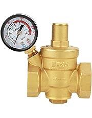 Keenso DN25 Drukregelaar, waterdrukregelventiel, 1 inch, instelbare waterregeling, drukregelventiel, schroefdraad met manometer, meter