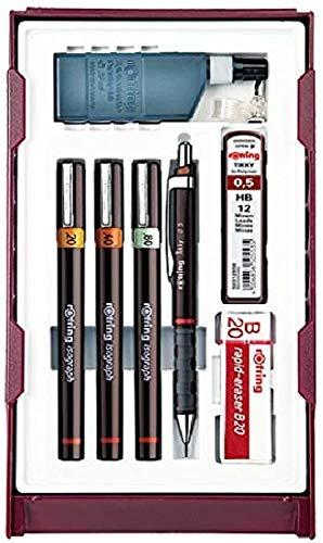 Rotring (S0706970) Isograph College conjunto de 3 estilógrafos (0,20mm + 0,40mm + 0,80mm), 1 Tikky portaminas y accesorios