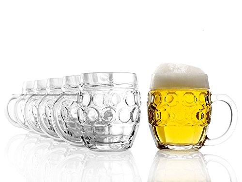 Stölzle Oberglas Tübinger Augenkanne, Pintglas, Kugel, 0,4 l - mit Füllstrich, Traditionelles Design, 6 Stück, spülmaschinenfest