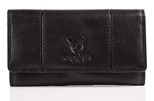 Matador Geldbeutel Damen Lang Geldbörse Echt Leder TÜV Geprüfter RFID & NFC Schutz Hochwertige Portemonnaie Frauen (Schwarz)