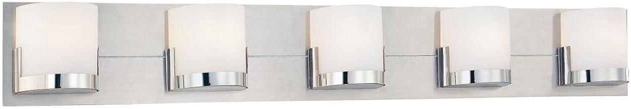 George Kovacs P5955-077, Convex Glass Wall Vanity Lighting Halogen, Brushed Aluminum