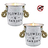 Citronella Candles, Aromatherapy Scented Candles with Lemongrass Essential Oil Soy Wax Candle, Portable Delicate Little Iron Bucket, for Aromatherapy Relaxation Candles for Home Indoor Outdoor-2pack