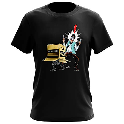 T-Shirt Homme Noir Parodie Metal Gear Solid - Solid Snake - Colis piégé. : (T-Shirt de qualité Premium de Taille XS - imprimé en France)