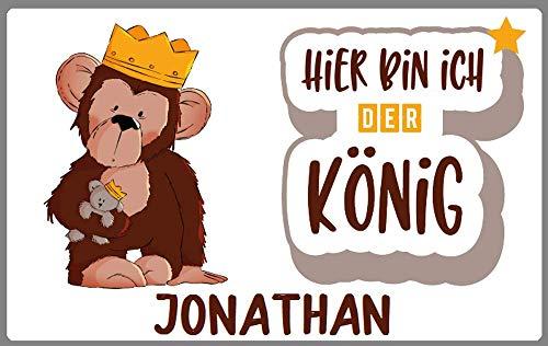 Türschild Affe Teddy Spruch mit Wunschname Alternative zu Holzbuchstaben Geschenkidee Zimmertür