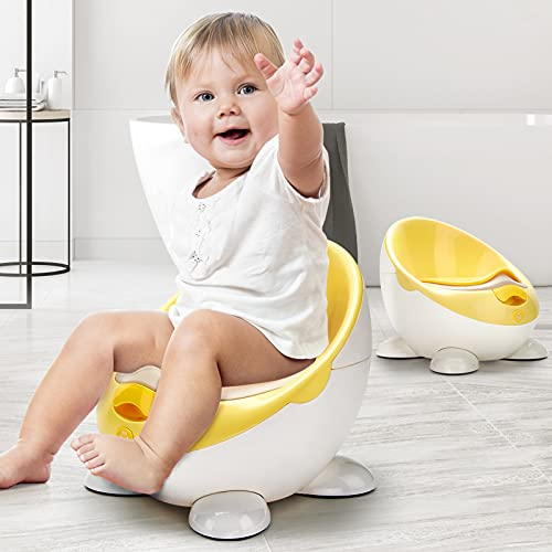 Potty Training Seat for Girls Boys, Kids Potty Training Toilet for Toddler, Toddler Toilet Seat with Detachable Soft Cushion & Brush, Ergonomic Design, Splash Guard, Backrest Toilet Training Seat