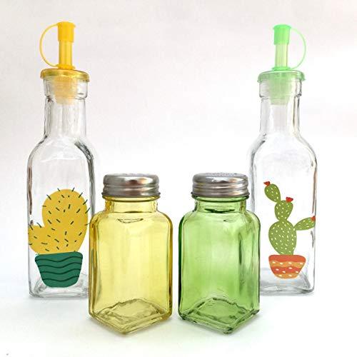 Oliera e aceto cactus in vetro con saliera e pepiera set da 4 pezzi.