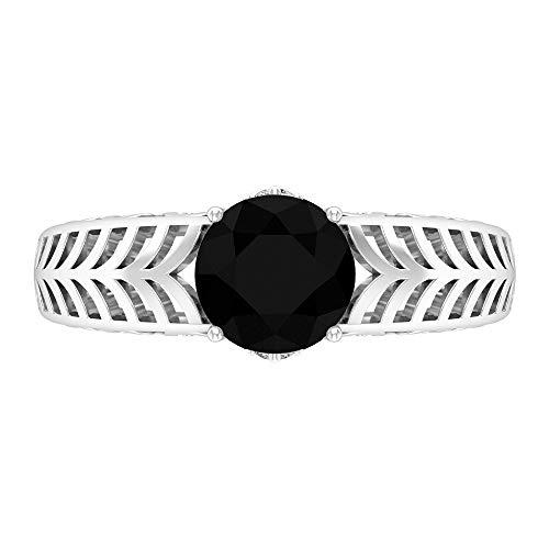 Anillo de compromiso de 7 mm con solitario ónix negro, D-VSSI moissanita y ónix negro, anillo de filigrana de oro macizo, 14K Oro blanco, Size:EU 46