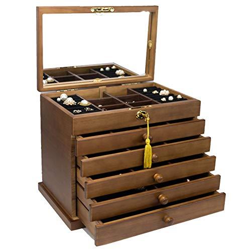 Große Kapazität Holz Schmuckkoffer Sechs Stockwerke Vintage Schmuckkästchen mit Schloss und Spiegel Samtfutter Organisieren Sie einfach Ihren Schmuck