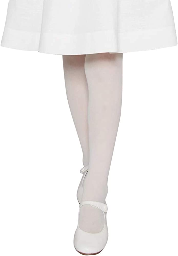COTTON DAY Girls Ultra Soft Microfiber School Opaque Tights Pack of 2