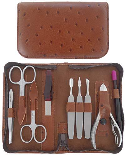 Set Manucure et Pedicure 9 pièces Inox en Cuir avec Fermeture à Glissière - Tenartis Fabriqué en Italie (Marron)