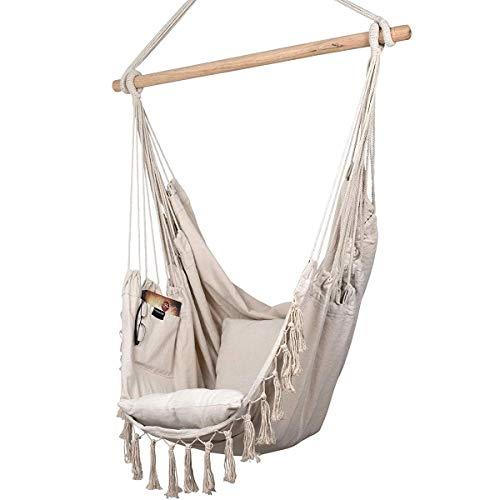Hängesessel mit Kissen und Bücherfach - Großer Hängestuhl für Erwachsene und Kinder mit Tragfähigkeit bis zu 150 kg. Perfekt fur Indoor/Outdoor