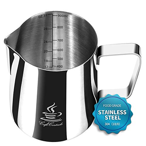 Milk Jug, FlamGen Milk Frothing Pitcher Jug Cup (32oz/900ml), Stainless Steel 304 Measuring Cup with Art Decorating Pen | 16PCS Coffee Decorating Stencils for Coffee, Cappuccino, Espresso, Latte