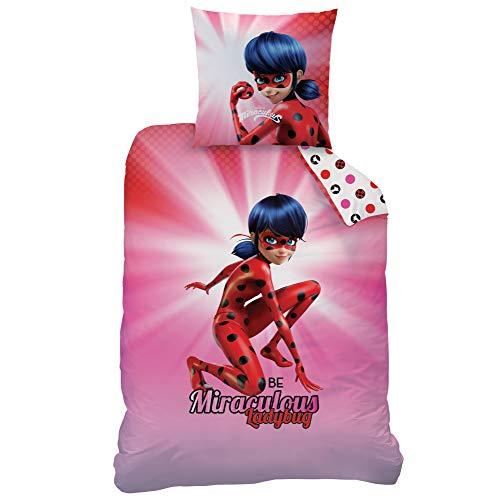 CTI Miraculous Bettwäsche Set Wendemotiv · Mädchenbettwäsche · Kinderbettwäsche · Ladybug · Kissenbezug 80x80 + Bettbezug 135x200 cm - 100% Baumwolle